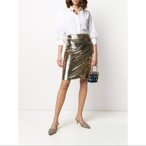 Emporio Armani Gold Sequined Skirt 42